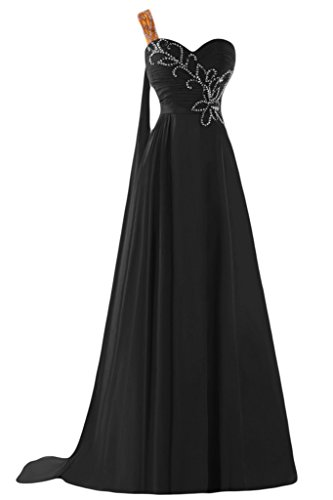 Sunvary A-line uno spalla Chiffon con perline Sbuffi Evening Dresses Homecoming Gowns Black