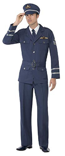 Fancy Me Herren Navy Blue WW2 Air Force Pilot Captain Uniform Military Historisches Kostüm Outfit (Navy Pilot Kostüm Herren)