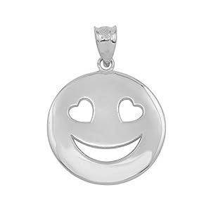 10 Karat Weißgold Herz Augen Smiley Gesicht Damen Anhänger