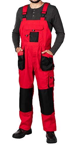 Salopette da Lavoro Uomo, Pantaloni da Lavoro Uomo con Tasche per Imbottitura, Taglie Grandi Fino S-3XL, Salopette combinati, Tuta da Lavoro Uomo con Tasche per Ginocchiere (XXL, Rosso)