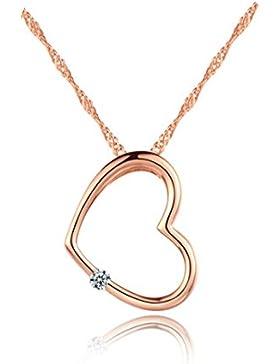 Shawa Herzkette Silber 925 Kette mit Anhänger Herz-Anhänger Rose Zirkonia Stein Silberkette Allergenfrei 45CM...