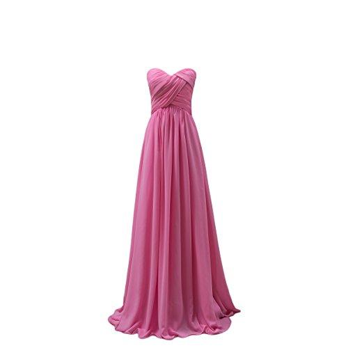 Bridal_Mall Damen Herzform ohne Aermel Brautjungfernkleider Lang Chiffon Falten Abendkleider Partykleider Rosa