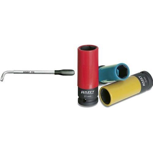 Preisvergleich Produktbild HAZET Ausziehbarer Radmuttern-Schlüssel 772 und HAZET Schlag-, Maschinenschrauber-Steckschlüssel-Einsatz (6kt.) 903SPC/3