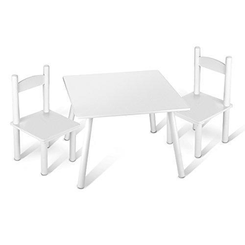 Pratique Table Carré En Bois Table et 2 chaises Enfant Chambre Enfant Meuble Enfant Mobilier Chaise d'Enfant Baby Table Pour Enfants Petit Bureau Couleur Blanc