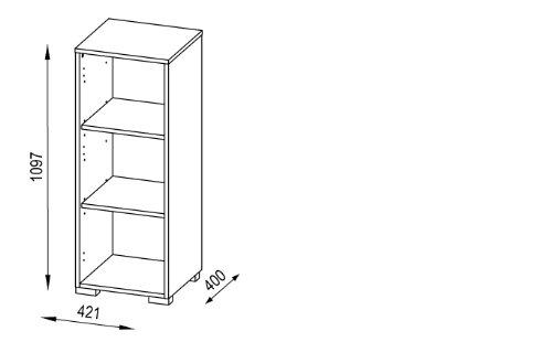 MAJA-Möbel 1224 3974 Aktenregal mit Schubladen, Icy-weiß - grau Hochglanz, Abmessungen BxHxT: 42,1 x 109,7 x 40 cm