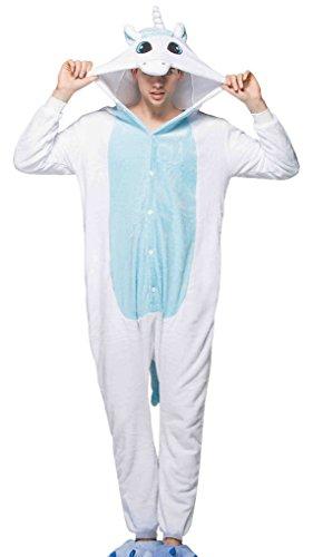 Aivtalk Unisex Flanell Pajama Schlafanzug Kostüm, für Fasching Kinderparty Karneval, Einteilig Nachtwäsche Tierkostüm Jumpsiut Gr.L für Körpergrößer 170-180cm - Einhorn Blau/Weiß