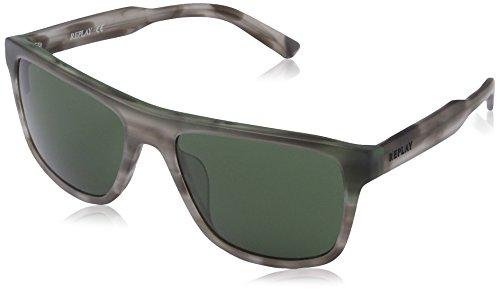 Replay Herren RY544S Rechteckig Sonnenbrille, Gr. One Size, Dove frame/green lenses (Dove Frame)