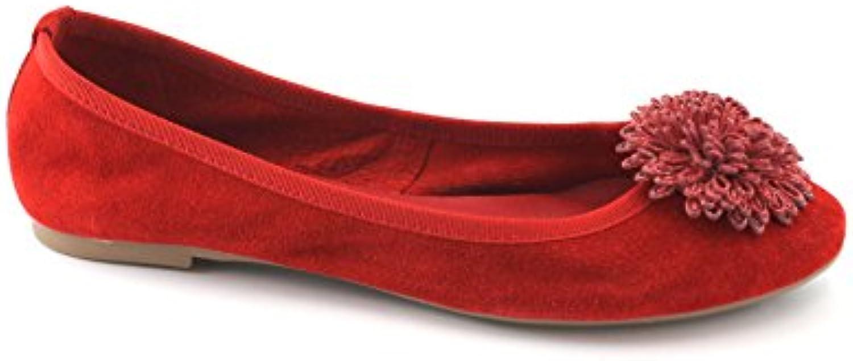 Caf Noir EF603 Zapatos Rojos Mujer Zapatillas Baja Bailarina Arco