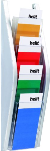 Helit H6270300 Bogendisplay mit 4 Fächer 1/3 A4, glasklar/silber