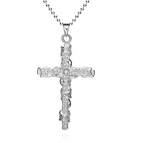 amdxd Jewelry Silber vergoldet Anhänger Ketten für Männer Silber Kreuz Form Anhänger (Browning Stoff)
