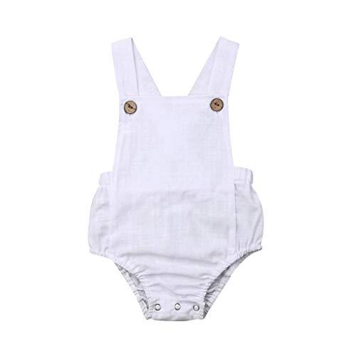y Kinder Mädchen Jungen Sommer Einfarbig Ärmellos Bequeme Atmungsaktive Baumwolle Sling Strampler Sunsuit Kleidung ()