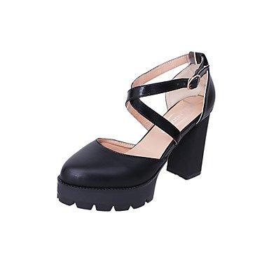 Zormey Frauen Heels Frühling Sommer Club Schuhe Pu-Dress Casual Niedrigem Absatz Schnalle Schwarz US5.5 / EU36 / UK3.5 / CN35
