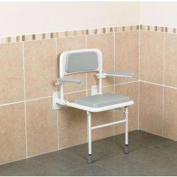 Patterson Medical Duschstuhl, zur Wandmontage, gepolstert, mit Rücken- und Armlehnen (Medical Duschstuhl)