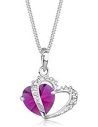 Elli Halskette Damen mit Herz Symbol und Swarovski Kristall in 925 Sterling Silber 45 cm lang
