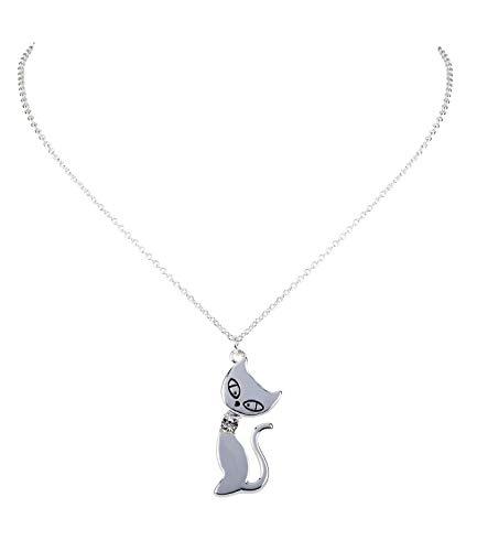SIX Halskette: Süße Kette mit Anhänger für Kinder, Katze mit funkelndem Strassstein, tolle Geschenkidee, silberfarben (297-682)