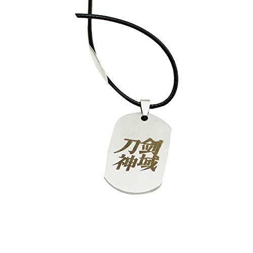 Baoleiju Halskette aus Edelstahl Spada Arte Online Chinesische Worte Cane Tag Anhänger mit Schmuckkästchen, Arte des Online Schwert für Frauen, Männer (Silber)