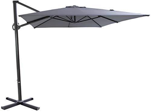 SORARA Sonnenschirm Ampelschirm | Grau | 250 x 300 m (2.5 x 3m) | Rechteckig Roma | Polyester 180 g/m² (UV 50+)| Kurbel Mechansimus | Kreuzfuß fur Parasol
