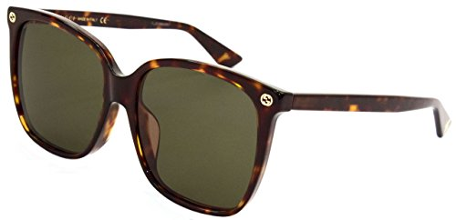 Gucci Damen GG0022SA 002 Sonnenbrille, Braun (Avana/Brown), 57