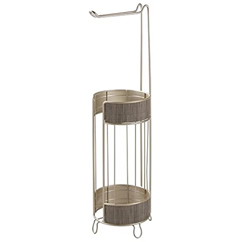 InterDesign Twillo Free Standing Toilet Paper Roll Holder for Bathroom Storage, Pearl Champagne