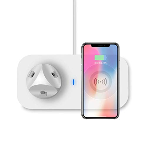 YOUXIU Kabelloses Ladegerät, kabelloses 3-in-1-Multifunktionsladen LED-Licht Für iPhone xr/xs max/xs/x / 8 / 8p Galaxy s10 / s10 Plus/Note 9 / s9 / s9 Plus / s8 / Note 8,White