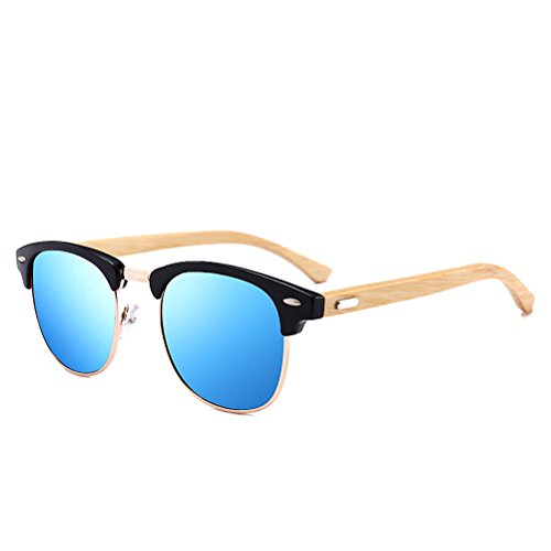 Memoryee Men's Clubmaster Half Frame Polarized Sunglasses with Metal Rivets Bamboo Frame
