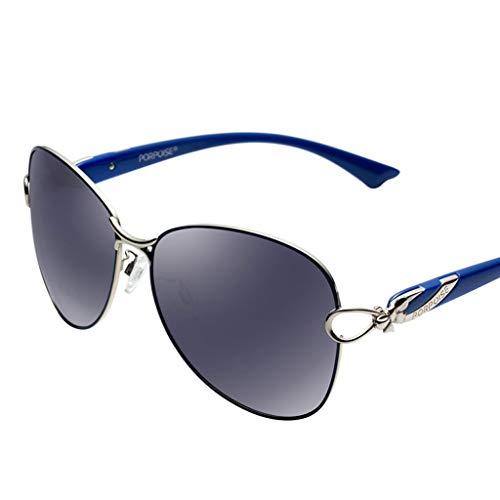 DFZJJ Sonnenbrillen- Polarisierte Sonnenbrille rundes Gesicht Fahren Persönlichkeit Fahrer Sonnenbrille Elegante helle HD-Sonnenbrille (Color : Blue, Size : 14.3cm)