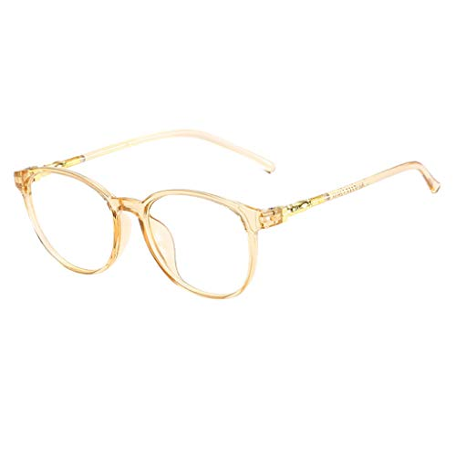 fazry Herren Damen Brille Mode Einfach Oval Brillen(Gelb)