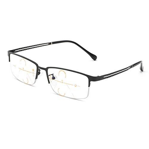 ZY Reading Glasses Progressive Multi-Fokus-Lesebrille, Dual-Use-Smart-Zoom-Brille für Fern- und Nahbereich, Memory-Metallrahmen - Unteren Metallrahmen