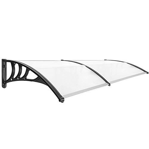 Primematik - pensilina tettoia in policarbonato per porta o finestra per esterno nero 200x80cm