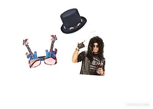 Seemeinthat Herren Slash Kostüm Set Slash Perücke Hut und Gitarrenbrille Stars and Stripes Gläser für die ikonische Wippe (Hut Kostüm Slash)