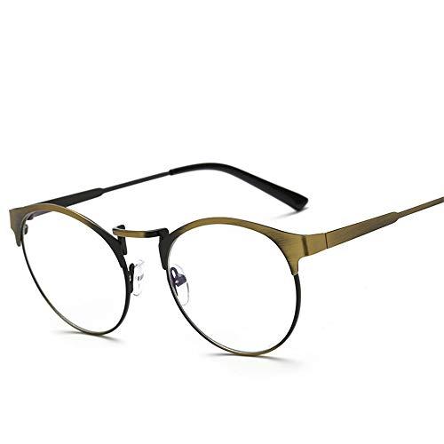 P-WEIAN Brille anti-blue Brillengestell Metall runder Rahmen Retro-Flachspiegel Trend Brillengestell Unisex, Bronze gebürstet