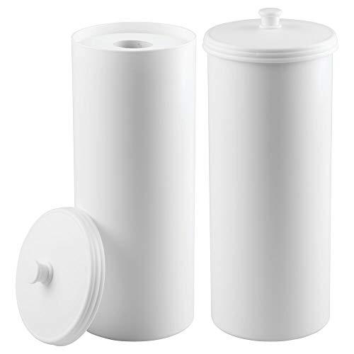 mDesign Juego de 2 portarrollos de pie - Dispensador de papel higiénico para el baño - Almacenaje de baño para 3 rollos de papel higiénico - blanco