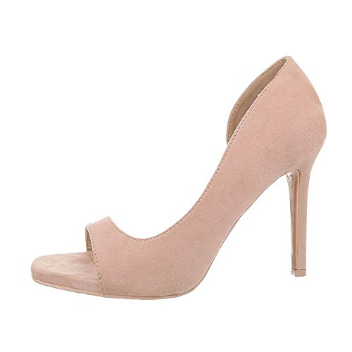 Ital-Design Damenschuhe Pumps High Heel Pumps Synthetik Altrosa Gr. 39 Metallic-stiletto Heel
