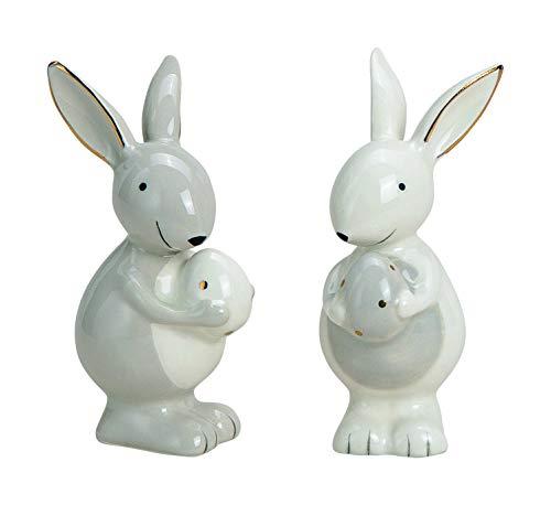 Wurm Hase mit Ei, Keramik, grau/weiß (Hase Links)