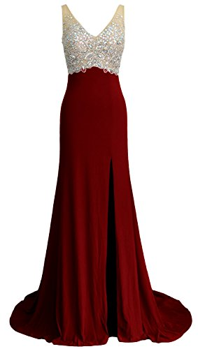 MACloth Elegant Mermaid V Neck Long Prom Dress Jersey Formal Party Evening Gown Burgundy