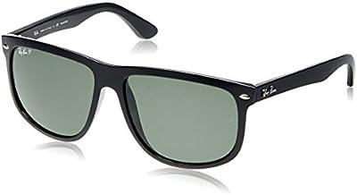 Ray-Ban - Gafas de sol Rectangulares Rb4147 para hombre, Black Frame/ Crystal Green Lens