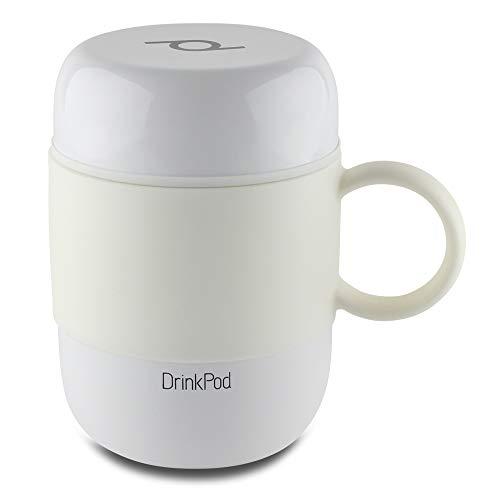 Pioneer DrinkPod mit Griff Isolierbecher aus Edelstahl 0,28 L Doppelwandig Thermobehälter 6 Stunden Heiß 24 Stunden Kühl Auslaufsicher BPA-Frei - Weiß (Weiß Pioneer)