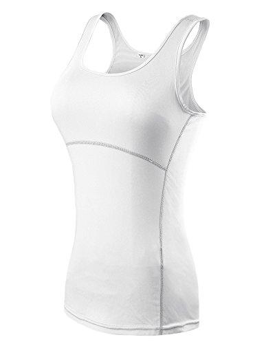 Femme couche de base compression de yoga de fitness gilet sans manches T-shirt Blanc