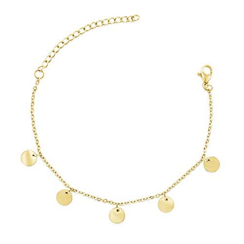 BAFFOS® Plättchen Armband aus Edelstahl in Farbe Gold für Frauen mit verstellbarer Länge Schöner Damen Goldschmuck | Armkette Coins (Armband Gold-halskette Und)