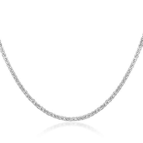 Collana in oro bianco 14 carati/585, maglia grano con chiusura ad anello a molla, larghezza 1 mm, 1,7 g, lunghezza 45 cm, catenina a maglia grano su entrambi i lati