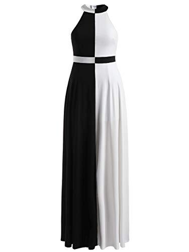MEIZIZI Ärmelloses Halfter-Kleid Weiß Und Schwarz Elegantes Partykleid Frau Lange Kleider Vintage Sommer, Maxikleid, XL - Schwarz & Weiß Halfter Kleid
