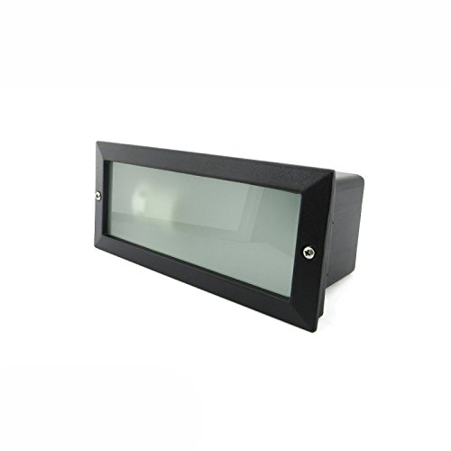 Baliza rectangular aluminio negra con cristal mateado 60W E27