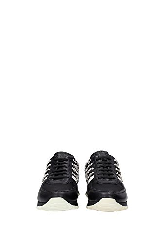1E878FNEROBIANCO Prada Sneakers Femme Cuir Noir Noir