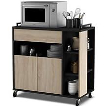 Mueble de cocina auxiliar para microondas en color negro y roble 80x76cm