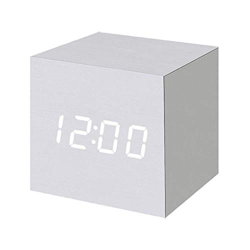 Ankkiro Digital Alarm Clock Wooden LED Light Multifunctional Modern Cube Displays Date Temperature for Home Office Travel (Weiß)