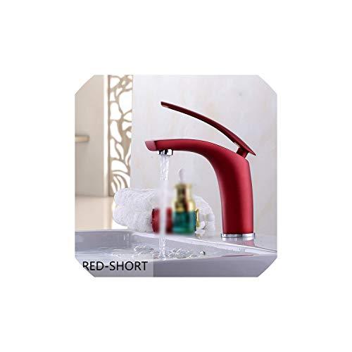 Waschbecken Wasserhahn Schwarz/Weiß/Rot Bassin-Hahn-Gold-Wannen-Hahn-Wannenmischer Wasserhähne aus Messing Multi Tap, Rot Peerless Wand