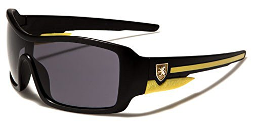 Khan - Lunettes de soleil - Garçon Black matte/yellow/black lens