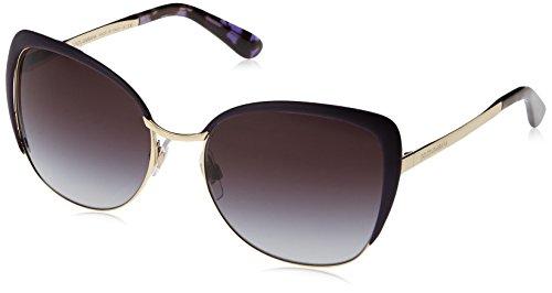 Dolce & Gabbana Damen DG2143 Sonnenbrille, Mehrfarbig (Gold, Schwarz, Violett/Grau verlaufend 12538G), Medium (Herstellergröße: 57)