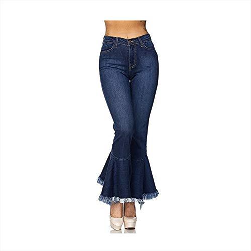 Frauen Jeans mit hoher Taille Elastizität Schlanke Schlaghose Hohe Taille Breites Bein Slim Fit Quaste Jeans Reißverschluss Gewaschen Mode Denim ausgestellte Hose,S -
