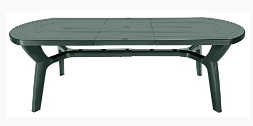 Grandsoleil Table Ovale Bohème Pagoda Greenpol avec Extension, polymère, Verte, 230 x 90 x 30 cm